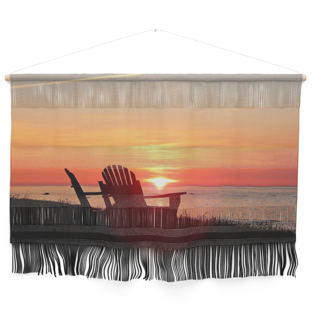 Chairs Sea and Sunset Wall Hanging by danbythesea