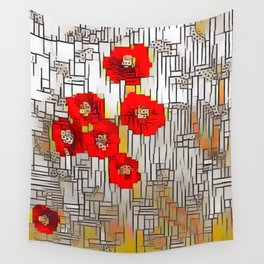 Cubism Poppies Wall Tapestry