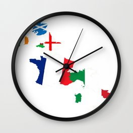 Map Of She Six Highest Ranked Rugby Teams Wall Clock