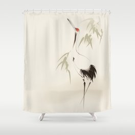 Oriental Red-Crowned Crane 001 Shower Curtain