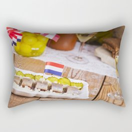 I - Dutch herring ('haring') with onions and pickles on rustic table Rectangular Pillow