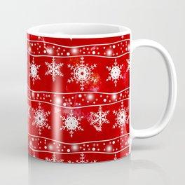 Openwork white snowflakes on red Coffee Mug