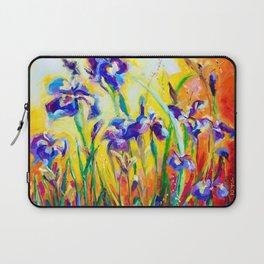Alpha and Omega Impressionist Blue Irises Laptop Sleeve