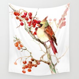 Cardinal Bird and Berries Wall Tapestry