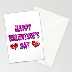 Happy Valentine's Day Metal Pink and Red Letters Stationery Cards