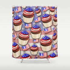 USA Flag Cupcakes Pattern Shower Curtain