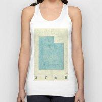 utah Tank Tops featuring Utah State Map Blue Vintage by City Art Posters