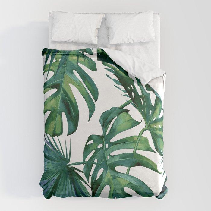 Classic Palm Leaves Tropical Jungle Green Bettbezug