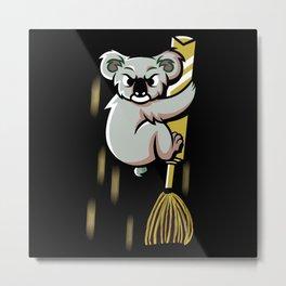 Funny angry Koala On A Flying Broom Metal Print