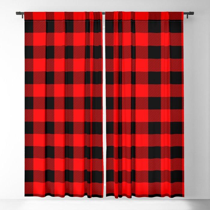 Classic Red and Black Buffalo Check Plaid Tartan Blackout Curtain