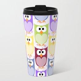 Colorful Owls - Green Blue Purple Yellow Travel Mug