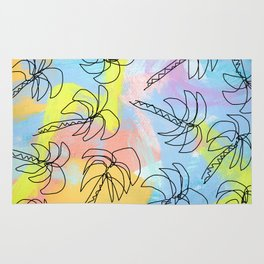 Live This Moment no.1 - illustration palm tree pattern summer tropical beach California pastel color Rug