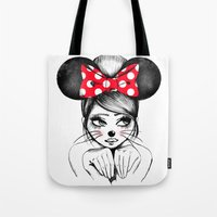 minnie mouse Tote Bags featuring Minnie by theavengerbutterfly