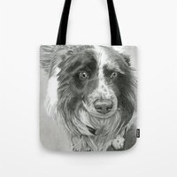 border collie Tote Bags featuring Border Collie by Sarahphim Art