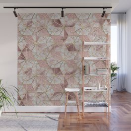 Modern rose gold geometric star flower pattern Wall Mural