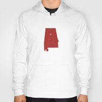 alabama Hoodies featuring Alabama by Hunter Ellenbarger