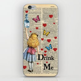 Drink Me - Vintage Dictionary Page - Alice In Wonderland iPhone Skin