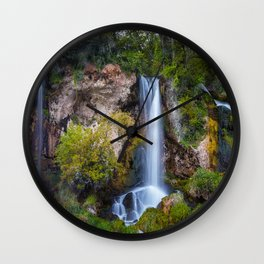 Pictures USA Rifle Falls State Park Colorado Cliff Nature Waterfalls park Grass Rock Crag Parks Wall Clock