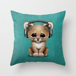 Cute Lion Cub Dj Wearing Headphones on Blue Throw Pillow
