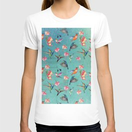 Vintage Watercolor hummingbirds and fuchsia flowers T-shirt