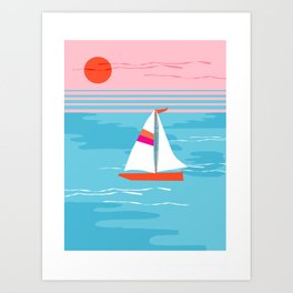 Mellow Out - memphis throwback retro classic neon yacht boating sailboat ocean sea 1980s 80s pop art Art Print