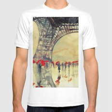 Winter in Paris Mens Fitted Tee X-LARGE White