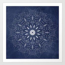 Indigo Mystique Mandala Art Print