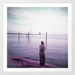 Lonely Girl on the Shoreline - Film Photograph Art Print