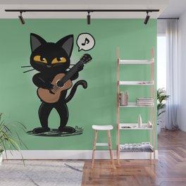 Cat guitar Wall Mural