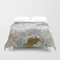 san francisco map Duvet Covers featuring San Francisco skyline old map by Paula Belle Flores