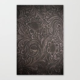Distressed Smoky Tooled Leather Canvas Print