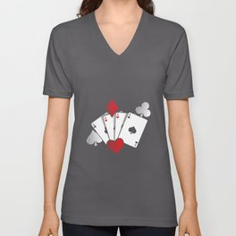 Poker Cards | Casino Gamble Ace Gift Idea Unisex V-Neck