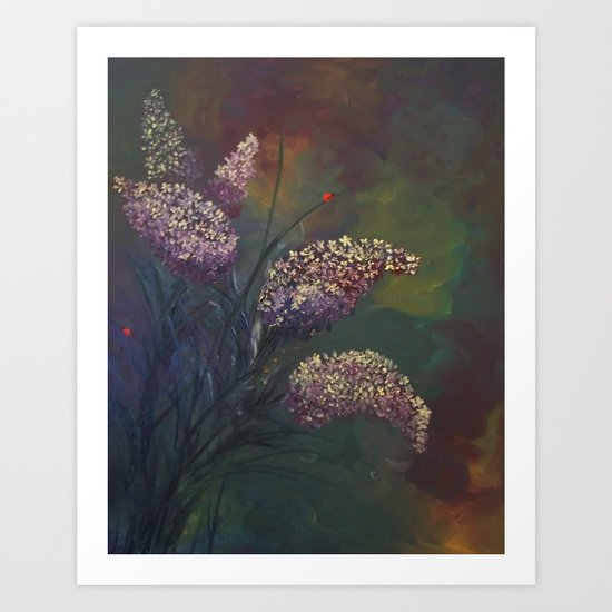 Lilacs and Ladybugs Art Print