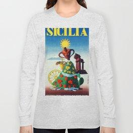 Vintage Sicily travel poster Long Sleeve T-shirt