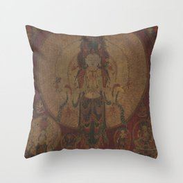 Eleven-Headed, Thousand-Armed Bodhisattva of Compassion 16th Century Classical Tibetan Buddhist Art Throw Pillow