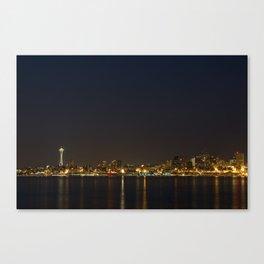 The Seattle, Washington skyline at night Canvas Print