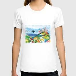 Swallow in the fairytale, painted pattern for kids, colourfull illustration T-shirt