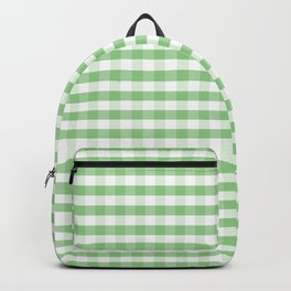 Color of the Year Large Greenery and White Gingham Check Plaid Backpack