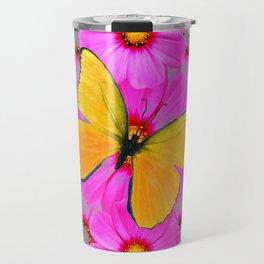 GOLDEN BUTTERFLIES FUCHSIA PINK FLORAL GREY ART Travel Mug