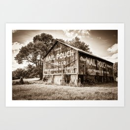 Vintage Mail Pouch Tobacco Barn - Sepia Edition Art Print