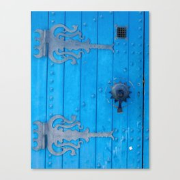 Ornate Blue Weathered Door and Ironwork Canvas Print