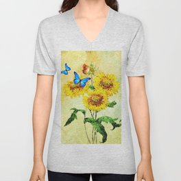 Blue Butterflies on Sunflowers (Color) Unisex V-Neck