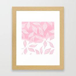 Modern pink white watercolor ombre lace leaf pattern illustration Framed Art Print