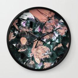 Whimsical black rose gold acrylic brushstrokes Wall Clock