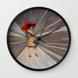 Limessia - beauty with umbrella Wall Clock