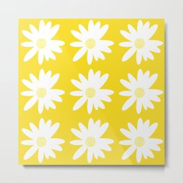 White Daisy Flowers Yellow Background Summer Mood #decor #society6 #buyart Metal Print