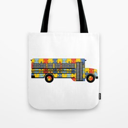 Autism Awareness School Bus Tote Bag