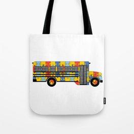 Autism Awareness School Bus Tote Bag