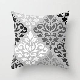 Scroll Damask Ptn Art BW & Grays Throw Pillow