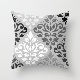Scroll Damask Ptn Art BW & Grays Throw Pillow
